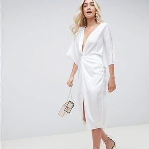 ASOS Front Tie Knot White Satin Midi Dress